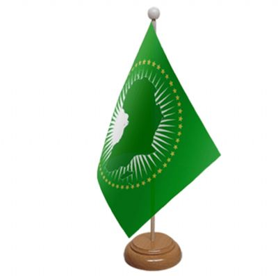 AFRICAN UNION - TABLE FLAG WITH WOODEN BASE